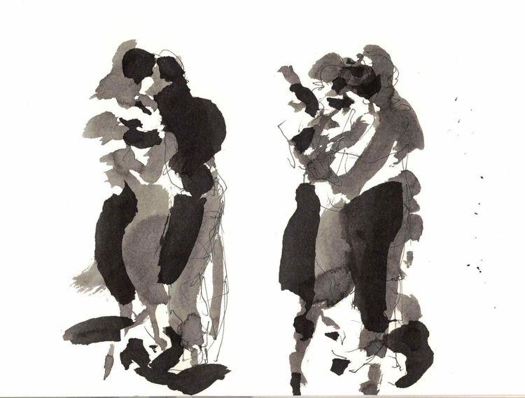 Pianist, Paar, Argentino, Tango, Violine, Mischtechnik