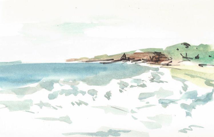 Brandung, Frankreich, Mann, Aquarellmalerei, Expressionismus, Atlantik