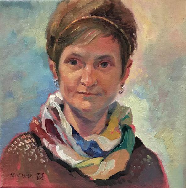 Portrait, Malerei, Mädchen, Gesicht, Ölmalerei, Frau