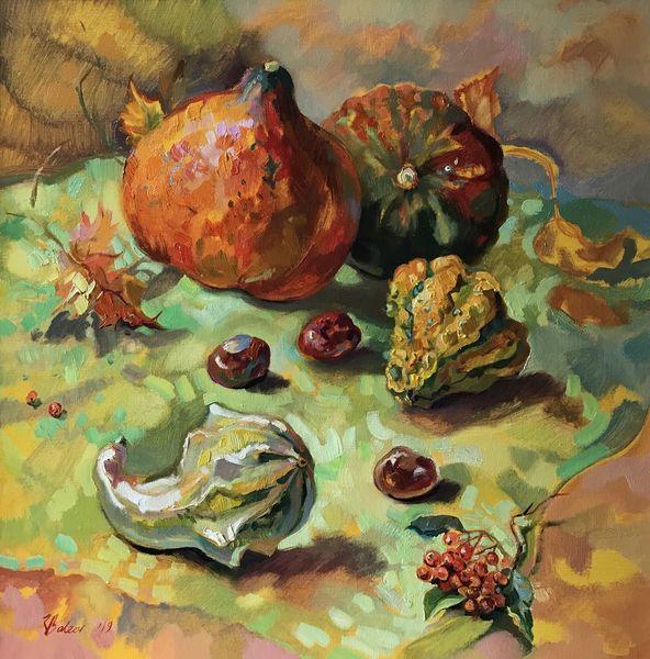 Stillleben, Gemüse, Kürbisse, Gelb, Herbst, Licht