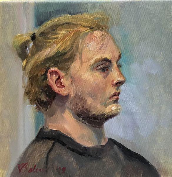 Junger mann, Profil, Junge, Malerei