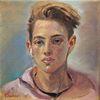 Ölmalerei, Jung, Gesicht, Junge