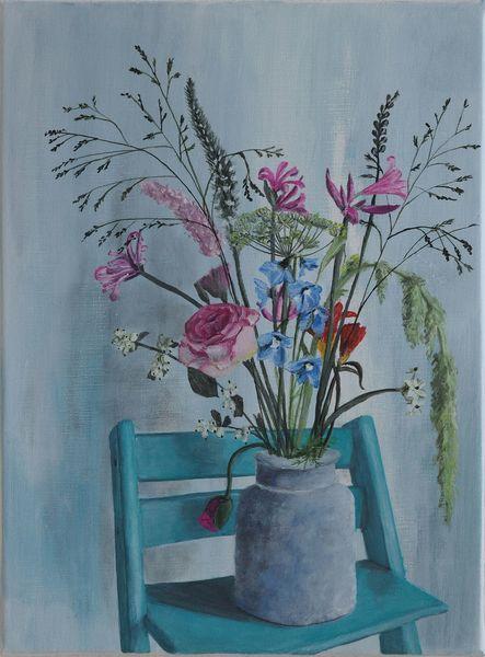 Blumen, Sommer, Türkis, Vase, Shabby chic, Pflanzen
