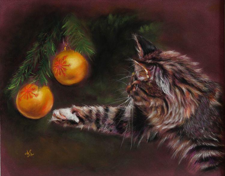 Weihnachten, Katze, Zeichnungen