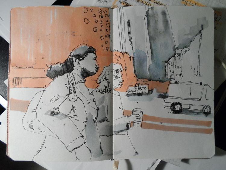 Alltag, Ausländer, Stimmung, Romantisch, Zeichnungen