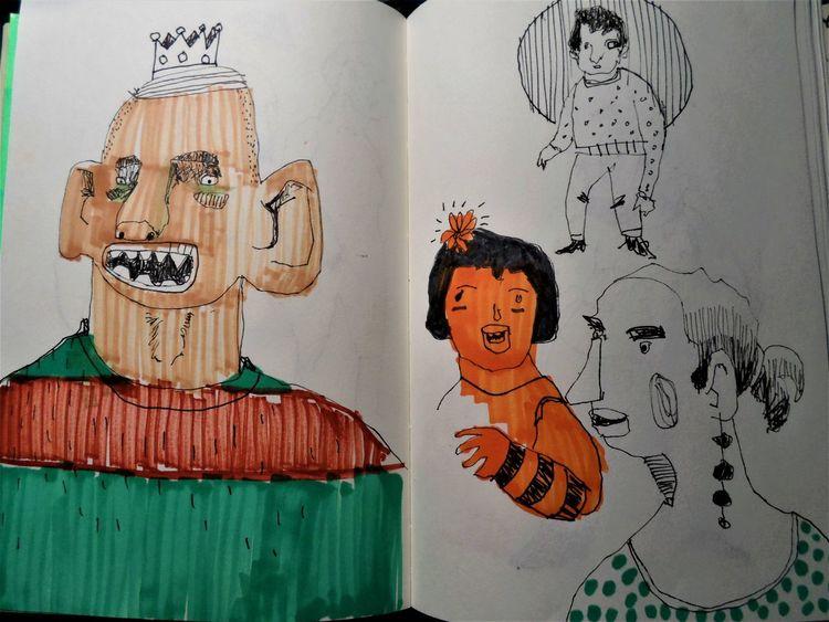 Gesellschaft, Alltag, Skizze, Zeichnungen