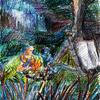 Traum, Draußen, Illustration, Tusche