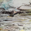 Reiher, Morgenröte, See, Aquarellmalerei
