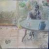 Selbstportrait, Pastellmalerei, Im garten, Malerei