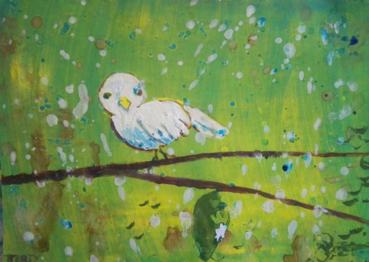 Vereinfachen, Kindlich, Vogel, Acrylmalerei, Abstrakt, Malerei