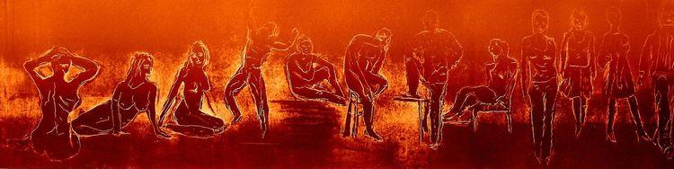 Menschen mit emotionen, Menschen, Tiefdruck auf kupferdruckbütten, Tiefdruck, Aquatinta radierung, Figural