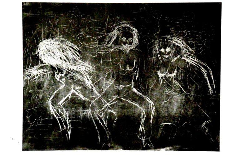 Hochdruck, Radierung acrylschnitt, Hexen tanzen, Druckgrafik