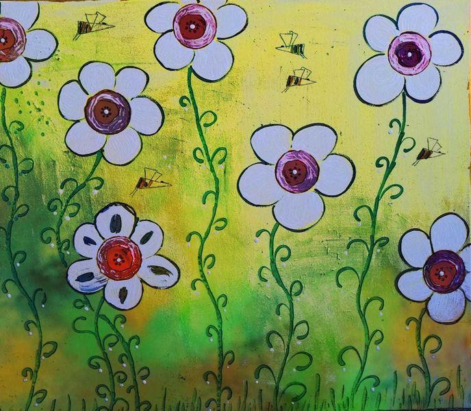 Bschoeni, Grün, Blumen, Abstrakt, Farben, Rot