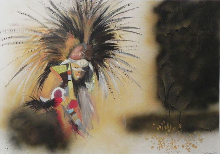 Menschen, Beige, Gold, Malerei, Indianer
