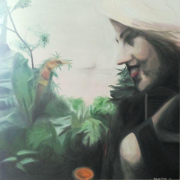 Malerei, Ölmalerei, Pflanzen, Licht, Frau, Portrait