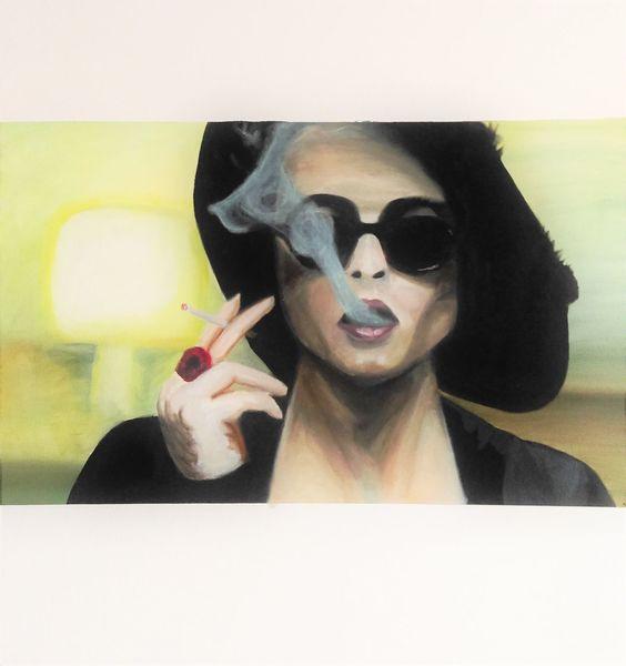 Frau, Gelb, Hut, Fight club, Zigarette, Schwarz