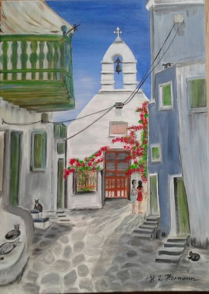 Griechenland, Katze, Sommertag kirche, Menschen, Acrylmalerei, Malerei