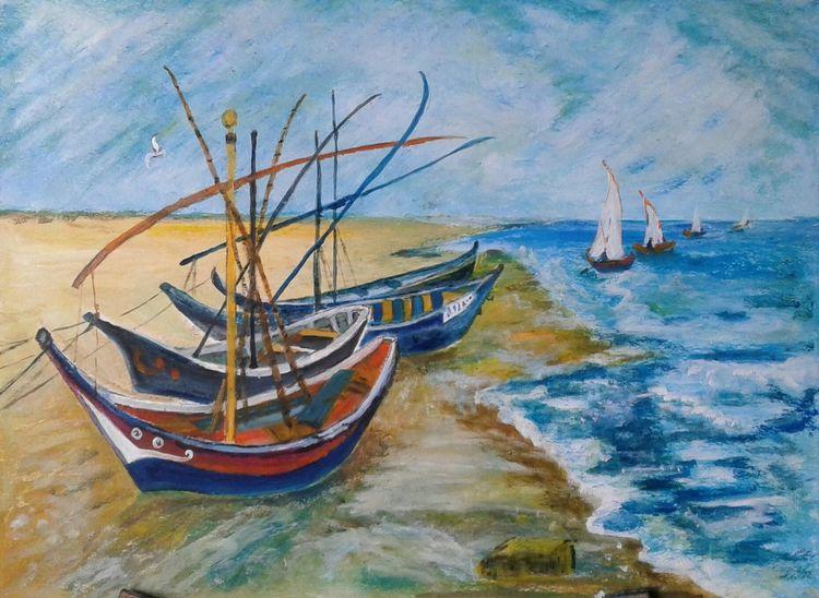 Landschaft, Vincent van gogh, Boot, Meer, Südfrankreich, Malerei