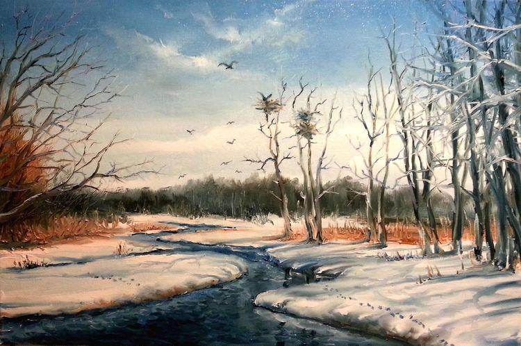Natur, Malerei, Landschaft, Fluss, Frühling