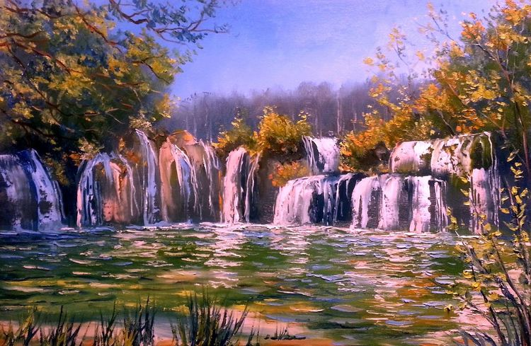 Landschaft, Zeichnung, Fluss, Kunstwerk, Natur, Wasserfall