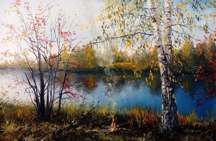 Herbst, Malerei, Ölmalerei, See, Natur, Russland