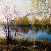 Natur, Ölmalerei, See, Licht