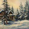 Winter, Landschaft, Ölmalerei, Malerei