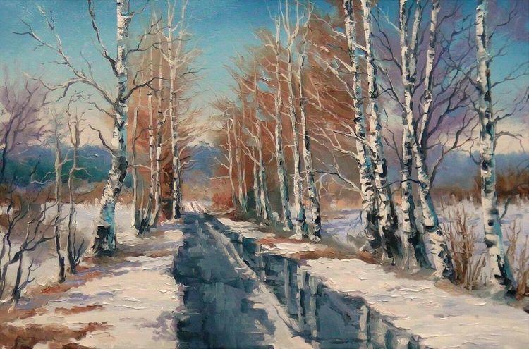 Landschaft, Ölmalerei, Frühling, Malerei