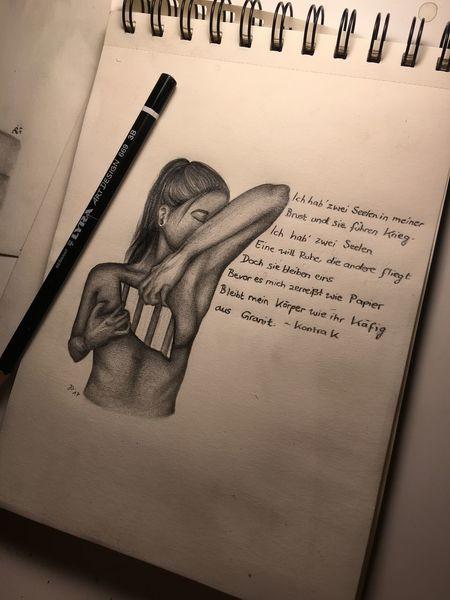 Zerstören, Bleistiftzeichnung, Fantasie, Kaputt, Zeichnung, Gefangen