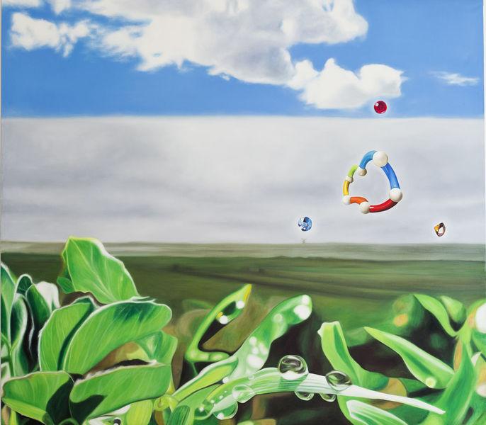 Spielzeug, Mischtechnik, Grün, Ölmalerei, Wolken, Auftragsmalerei