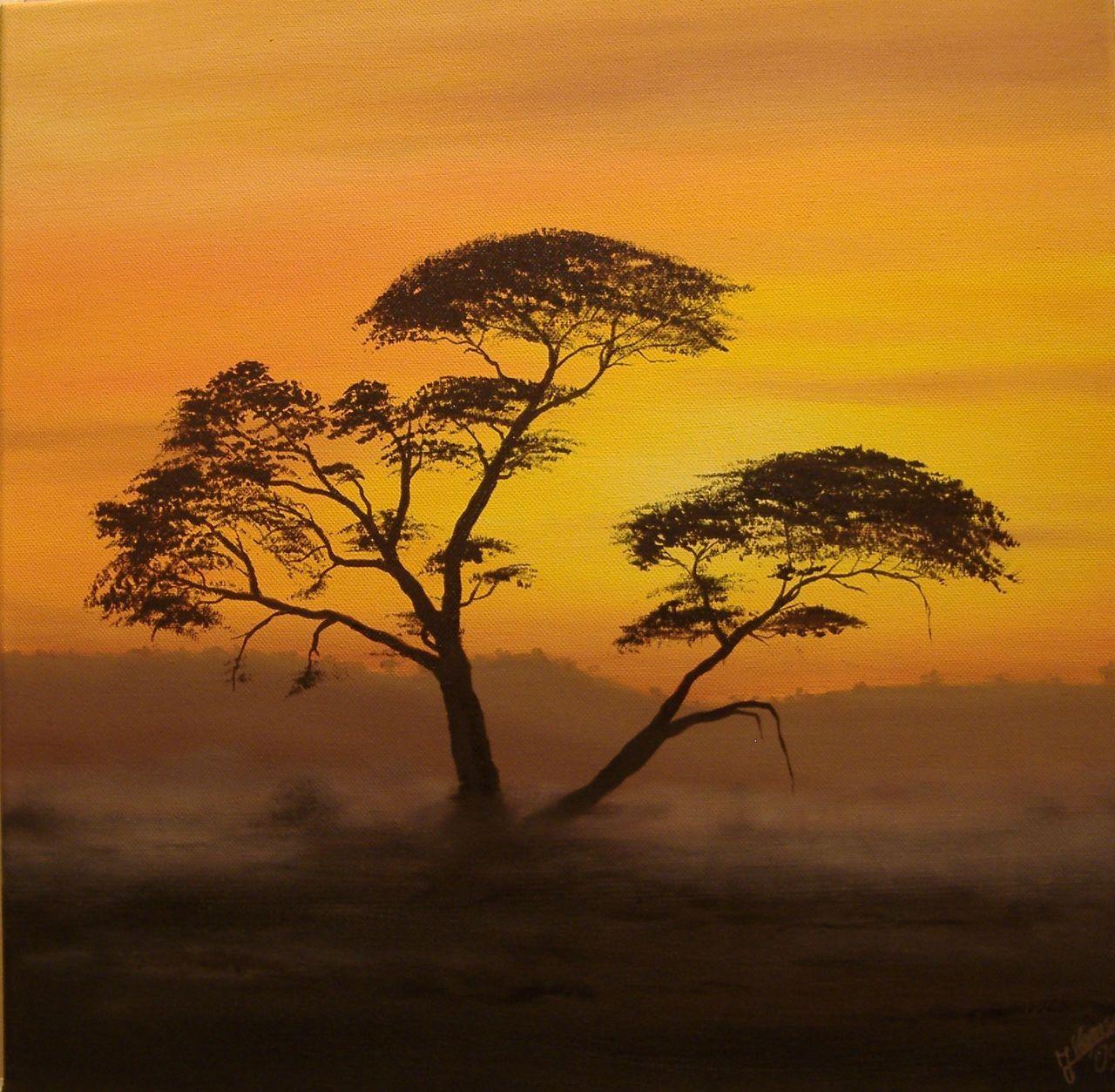 bild baum afrika sonnenuntergang malerei von j rg kensche bei kunstnet. Black Bedroom Furniture Sets. Home Design Ideas
