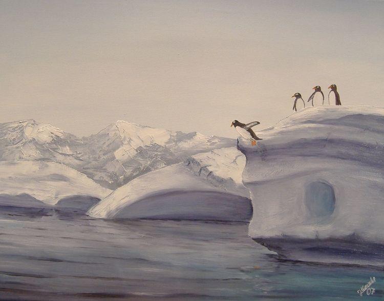 Sprung, Pinguin, Eis, Malerei