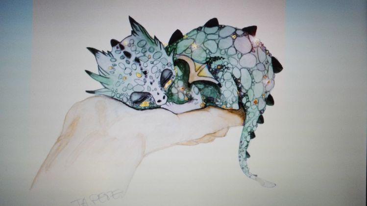 Aquarellmalerei, Malerei, Drache, Aquarell