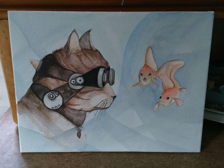 Goldfisch, Steampunk, Malerei, Katze, Aquarell, Hunger