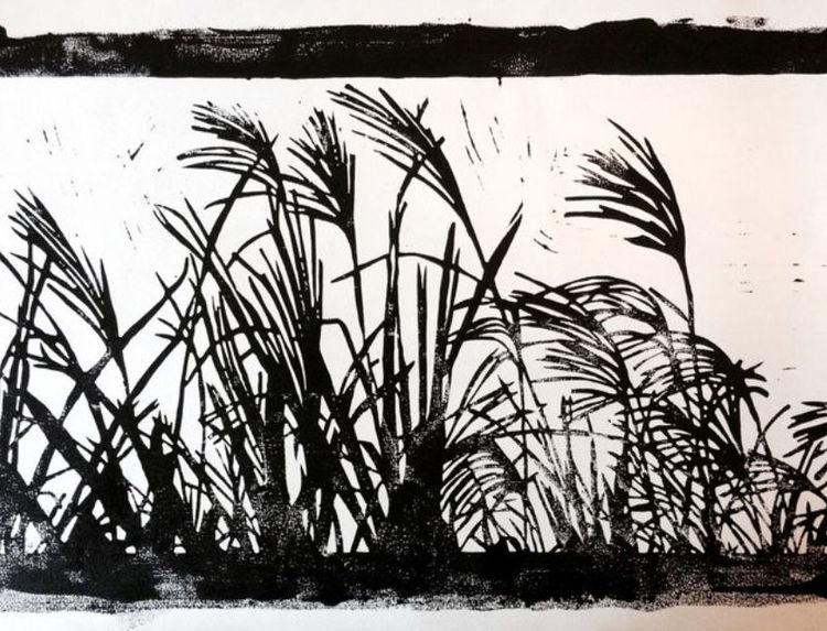 Gras, Nebenbeigekritzel, Licht und schatten, Jahreszeiten, Linolschnitt, Natur