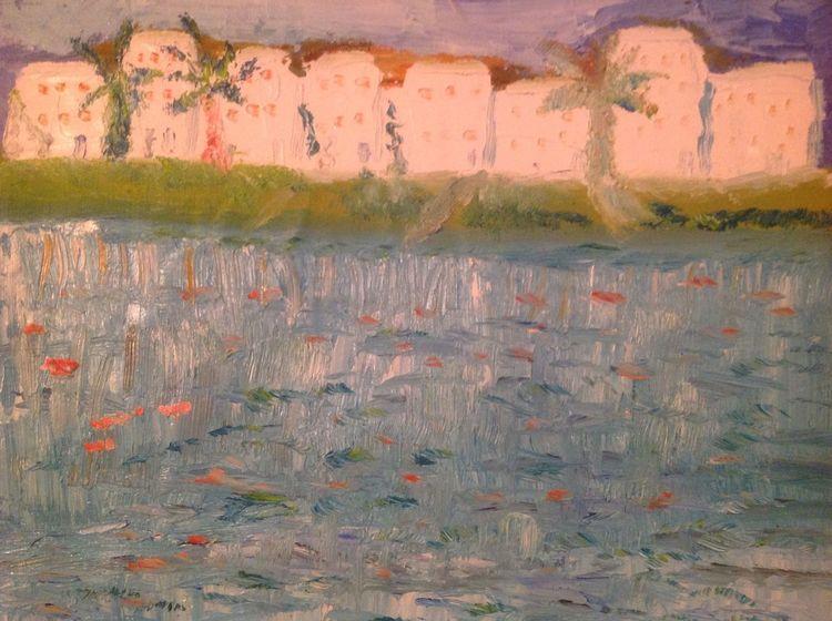 Reflexion, Die see, Morgensonne, Ölmalerei, Malerei