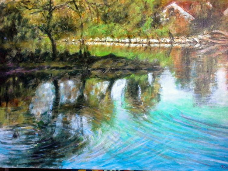 Fluss, Ufer, Donau, Malerei, Landschaft