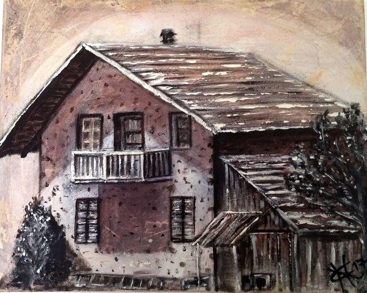 Haus, Alt, Spachtel, Braun, Malerei