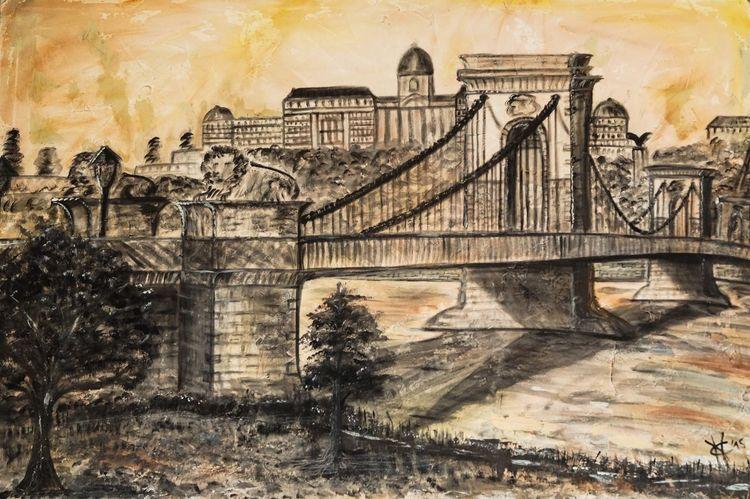 Fluss, Kettenbrücke, Gebäude, Licht, Architektur, Orange