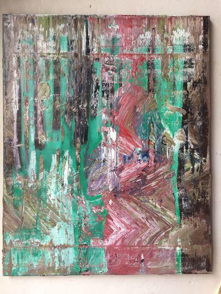 Figural, Dekonstruktion, Grün, Malerei, Frau, Abstrakt