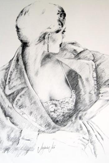 Figural, Frau, Portrait, Bluse, Mädchen, Zeichnung