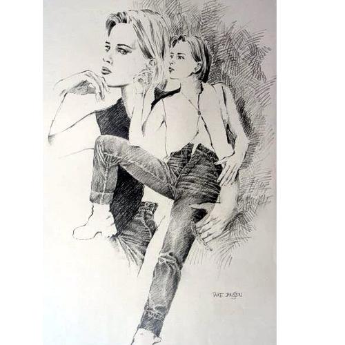 Rauchen, Jeans, Mädchen, Portrait, Zeichnung, Frau