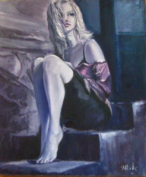 Portrait, Malerei, Frau, Wind