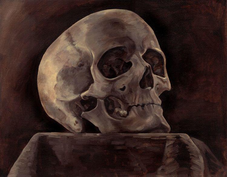 Schädel, Knochen, Studie, Menschen, Malerei,