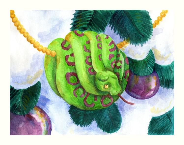 Weihnachten, Tanne, Tiere, Schlange, Winter, Kugel