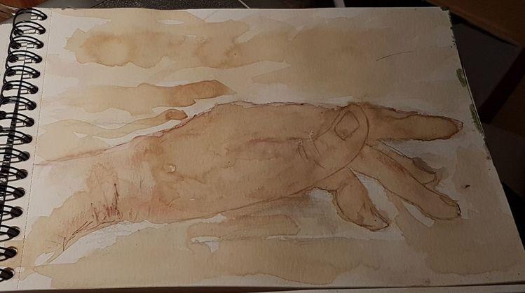Kaffee, Malerei, Figural, Aquarellmalerei, Berührung