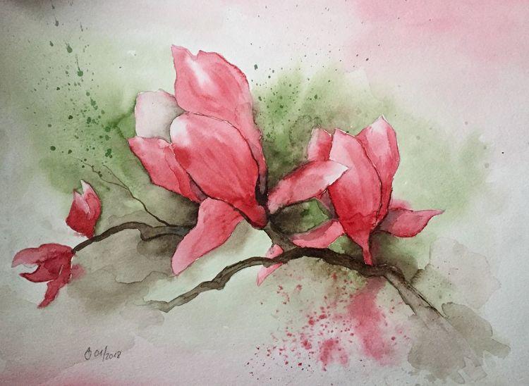 Blumen, Aquarellmalerei, Magnolien, Malerei