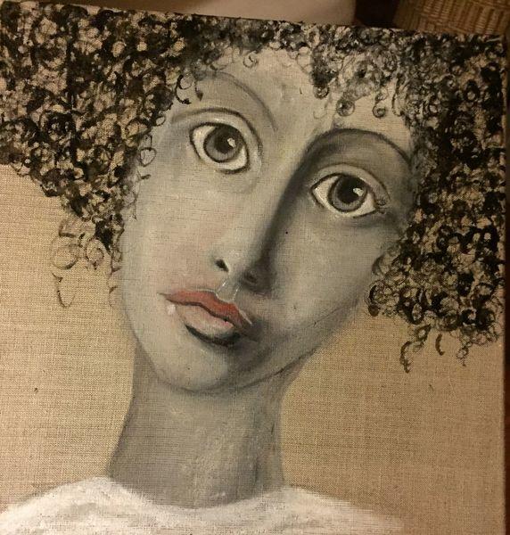 Frau, Leinen, Pigmente, Malerei, Göttin carmena