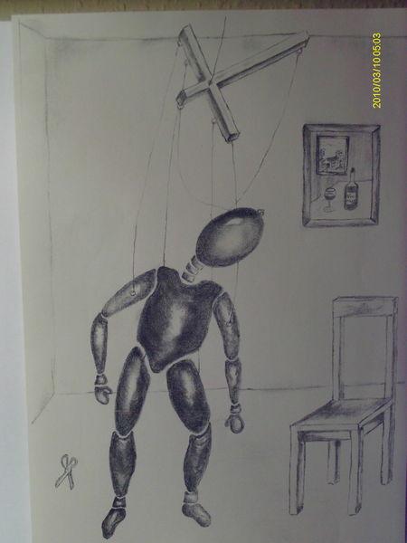 Melancholie, Bleistiftzeichnung, Depression, Seele, Marionette, Zeichnung