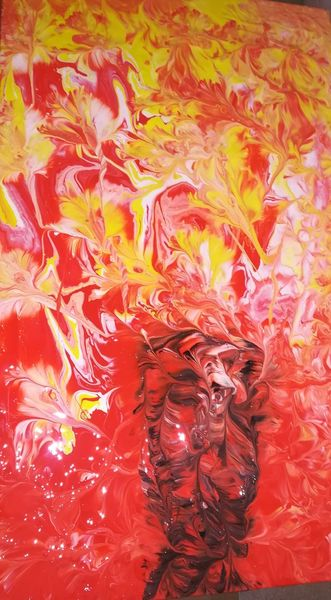 Abstrakt, Rot schwarz, Malerei
